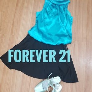 FOREVER 21 teal silky mock neck blouse top S
